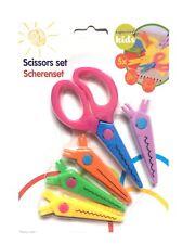 Set of 5 Children Craft Scissors Safe For Kids Different Patterns Card Making