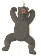 Antique Hand Carved Black Forest Dancing Bear, Mechanical works with String Pull