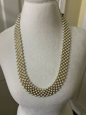 Vintage Pearl Beaded Necklace NWOT Multi Layer Unique