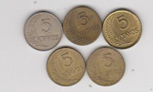 PERU LOT OF  5  5 CENTAVOS  1948 1944 1943 1942 1937