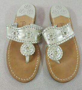 JACK ROGERS Size 8M Navajo Hampton Light Gold Platinum Flip Flop Thong Sandals