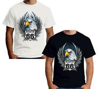 Velocitee Mens T-Shirt American Highway Eagle Biker Harley Mother Road W13034