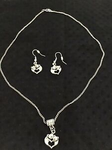 Querky & Cute Tibetan Silver Pig Earring & Necklace Set