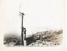WWII USMC Marines overhead wire system on Iwo Jima near front lines Photo