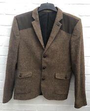 "Topman Tweed Blazer Jacket Chest 40"" Brown Wool Blend Blogger Trendy"