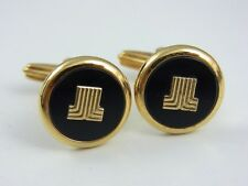 dunhill Gold Plated and Black Circle Cufflinks (used)