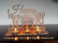 Personalised Tea Light Holder Happy Birthday  wooden mdf  6mm thick