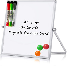 Merlerner 10 X 10 Magnetic Small Dry Erase White Board With Stand Adjustable