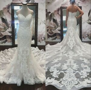 Wedding Dresses Lace Applique Backless Bridal Gowns Real Images Mermaid Custom