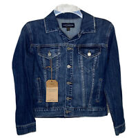 Lucky Brand Womens The Tomboy Trucker Jean Jacket XS Distressed Blue Button NWT