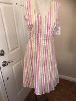 Nordstom Lily Multi Color Stripe Rainbow V Neck Dress Nwt $$ Size M