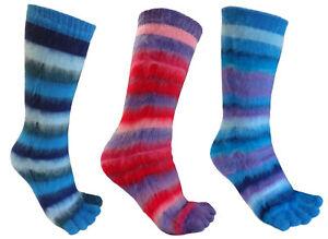TOE SOCKS 3 PAIRS GIRLS KIDS STRIPEY KNITTED UK 12.5-3.5 EU 31-3 BLUES AND PINKS