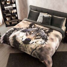 WOLF BLANKET WITH SHERPA VERY SOFTY THICK AND WARM QUEEN SIZE