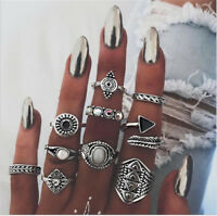 10Pcs/Set Women Lady Boho Vintage Silver/Bronze Punk Knuckle Finger Midi Rings