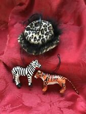 Exceptional Lot Trio (3) ANIMAL PRINT Tiger ~ Zebra ~ Hat Christmas Ornaments