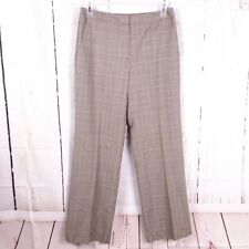 346 Brooks Brothers Womens 8 Grey Plaid 100% Wool Career Flat Front Lined Pants