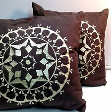 """New! 2 Rizzy Home Decorative Linen Embroidered Pillow Brown 18"""" x 18"""""""