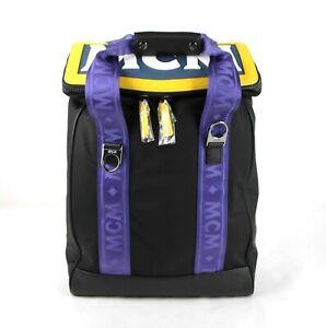 MCM Black Nylon Medium Backpack with Purple Canvas Straps MUK9SAB15BK001
