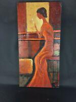 """Superbe toile peinture à l' huile réhaussée - Signé - Theme : """"Fumeuse"""""""