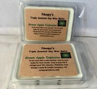 2 GREEN APPLE EXPLOSION Triple Scented NOOPY/'S Soy Wax Melts Tarts KOSHER