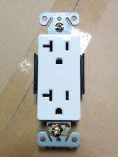 (10 pc) Decorator Duplex 20A Receptacles 20 Amp Decora Commercial Outlets WHITE