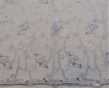 """Baccara White Tulle/Mesh Embroidery Rosette Sequins Metallic Stitching 50"""" wide"""