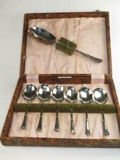 VINTAGE Set of 6 Silver Plated Dessert Spoons and Serving Spoon in Case 1930s