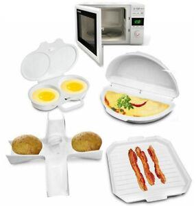 4 Pcs Microwave Cookware Set Cooker Rack Omelette Pan Potato Baker Egg poacher