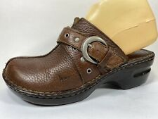 boc Born Concept Brown Pebbled Leather Clogs Sz 8/39 M