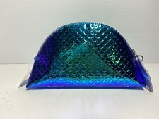 Bath & Body Works Metallic Blue Cosmetic Bag Mermaid w Purple Tail Zipper Pull