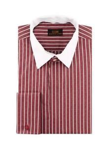 Dress Shirt Only Steven Land Trim&Classic Fit French Cuff Burgundy-TW929-BG