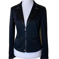 A|X Armani Exchange Blazer Jacket Zipper Black Satin Trim Womens Medium Stretch