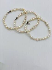 SILPADA Bracelets B1601 GODDESS 3 Fresh Water Pearl Sterling Silver Stretch