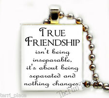 Friendship Quote Recycled Scrabble Tile Pendant Jewelry Necklace Friends BFF