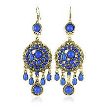 Vintage Jewellery Antique Gold & Royal Blue Drop Dangling Earrings E130