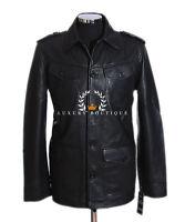 Scott Men's Black Smart Casual Safari Style Real Lambskin Leather Shirt Jacket