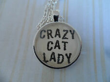25mm Crazy Cat Lady, Altered Art Cameo Pendant Necklace, Cabochon Jewellery