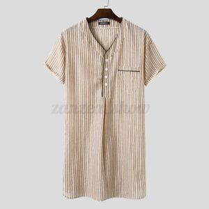 Mens Short Sleeve Cotton Striped Nightshirt Sleepwear Homewear Loungwear Robe US