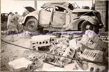 1937 Ford Fordor Sedan Wreck Collision with Cement Block Building Damage Photo