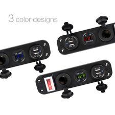 12V Car Charger Dual USB Adapter Cigarette Lighter Socket LED Voltmeter Switch
