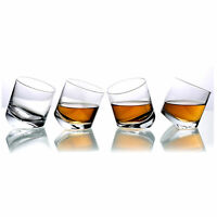 Tilting Whiskey Scotch Clear Glass,Tumbler Party Glasses, Set of 4 in Gift Box