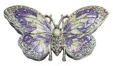 Butterfly Trinket Box Enameled Butterfly Jewelry Box with Crystal, Purple/Silver