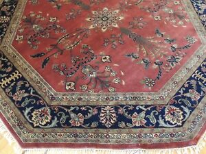 8x8 ROUND Octagon Sarough  Area Rug hand-knotted Red Gray Navy