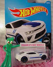 '16 CAMARO SS #265✰white chevy;blue rim mc5✰Fifty✰2017 US Hot Wheels case M