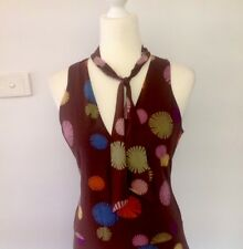 LISA HO Rainbow Floral Dress - Size 10 - Silk Blend