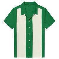 Men Western Shirt Short Sleeve Cotton Rockabilly Bowling Casual Shirts