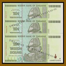 "Zimbabwe 10 Trillion Dollars, 3 pcs Set, 2008 AA P-88 ""Error Shift Serial"" Unc"