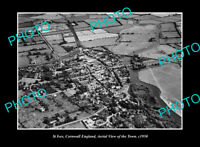 OLD POSTCARD SIZE PHOTO ST IVES CORNWALL ENGLAND AERIAL VIEW TOWN CENTRE 1950 2