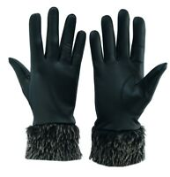 Women's Real Genuine Lambskin Leather Gloves With Fur Ladies Warm Winter Driving