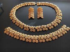 Vntg 1950s Necklace Earrings & Bracelet Set Beautiful Gold Tone w/ Rhinestones